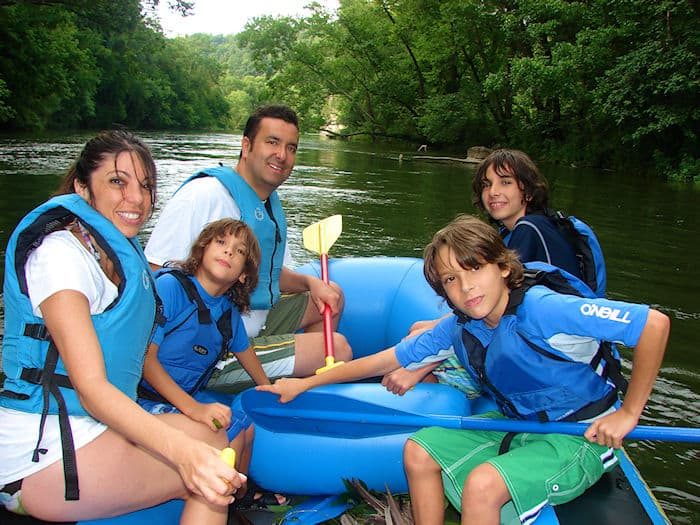 Having a fun day on a guilded rafting trip on the lower watauga river with the family.