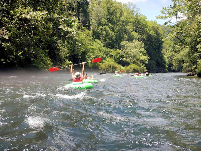 Fast water river tubing